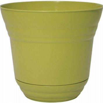 "Robert Allen PIM01227 Traverse Planter with Attached Saucer, 14"", Meadow Green"