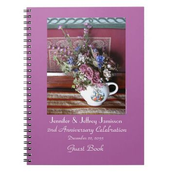 2nd Anniversary Party Guest Book, Vintage Teapot Notebook