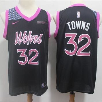 Minnesota Timberwolves #32 Karl-Anthony Towns Nike Purple 2018/19 Swingman Jersey ¨C City Edition