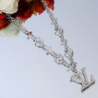 LV Woman Fashion Logo Plated Diamond Necklace For Best Gift