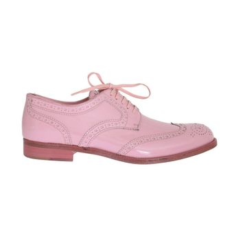 Dolce & Gabbana Pink Patent Broques Wingtip Leather Shoes