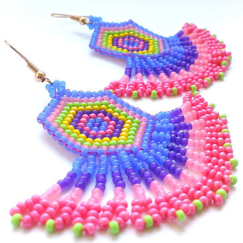 Seed Bead Dangle Earrings With Fringe-Ethnic Style Beaded Earrings-Ethnic Beadwork-Fringe Dangle Earrings-Beadwoven Earrings