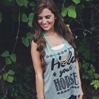 Hold Your Horses Graphic Tank Top in Grey