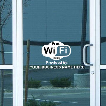 Custom 2 Color Free WiFi Storefront Window Decal/Business Decal/Custom Wifi Decal/Free Wifi Store Sticker/Store Decal Free Wifi/Custom Decal