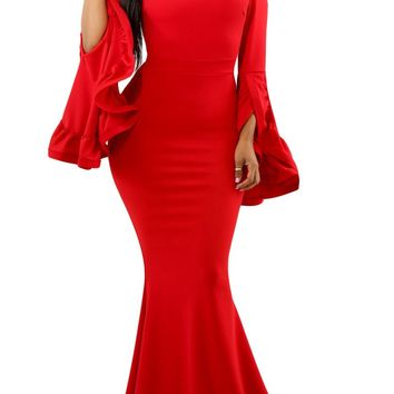 Red Off Shoulder Pleated Bell Sleeves Evening Maxi Dress