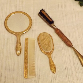 Vintage 50s Gold Gilt Dresser Set Mirror Brush Comb Shoe Horn