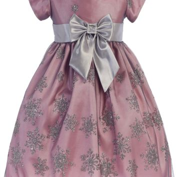 Pink & Silver Satin Girls Holiday Dress w. Glittering Snowflake Tulle 6M-7