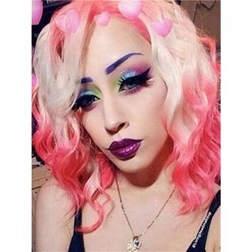 Short Rose Madder Pink Blonde Ombre Bob Synthetic Lace Front Wig