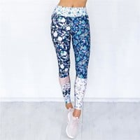 Women Yoga Pants Floral Printed Sport Fitness Leggings Patchwork Gym Leggins Running Trousers Workout Sportswear Clothes