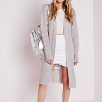 LONGLINE CHUNKY KNITTED CARDIGAN GREY
