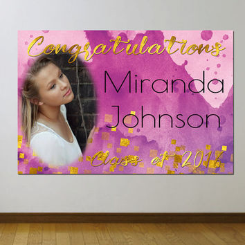 Custom Vinyl Graduation Banner Watercolor and Gold Confetti