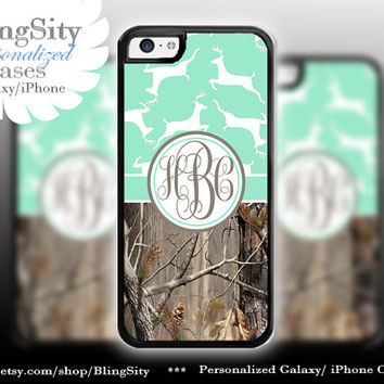 Monogram Iphone 5C case iPhone 5s  iPhone 4 case Ipod 4 5 Touch case Real Tree Camo Mint Deer Personalized Country Girl