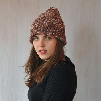 Knit hat, beanie hat, pom pom hat, slouchy beanie, winter hat, ski hat, brown hat