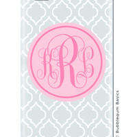 CUSTOM iPhone 5 5S 5C 4s 4 Samsung Galaxy s3 siii Phone Case - Gray Moroccan Light pink Circle - 3 Letter Initials Monogram Personalized