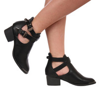 Tisha Metal Toe Trim 2 Buckle Ankle Boots in Black