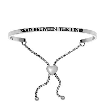 Intuitions Stainless Steel READ BETWEEN THE LINES Diamond Accent Adjustable Bracelet