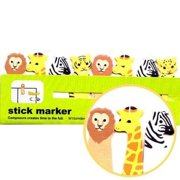Lion Zebra Giraffe Tiger Shaped Safari Animals Themed Memo Post-it Index Sticky Tabs