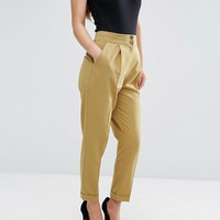 ASOS PETITE High Waist Tapered Trousers at asos.com