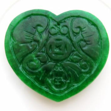 Green carved jade pendant, heart charm for necklace, burma gemstone beads for handcrafted jewels