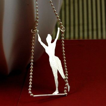 Lady Sweet Pea Trapeze Artist Sterling Silver Circus Necklace by Markhed