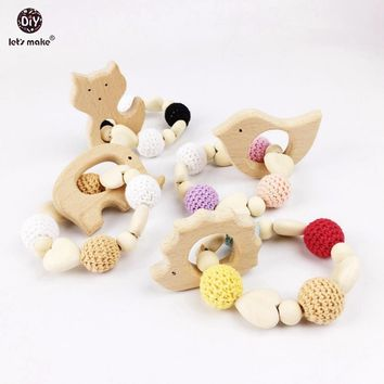 Let's make Heart Elephant Wooden Crochet Holder Eco 5pc Baby Bird Fox Teething Baby Shower Dummy Chain Teether