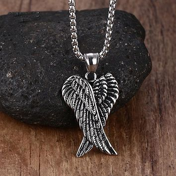 Stainless Steel Double Angel Wings Pendant Necklaces