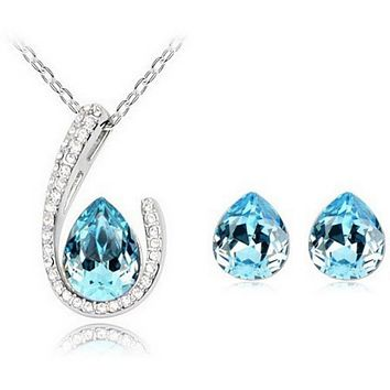 Horseshoe Necklace Earring set - Topaz