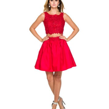 Red Floral Lace Two Piece Dress 2015 Homecoming Dresses