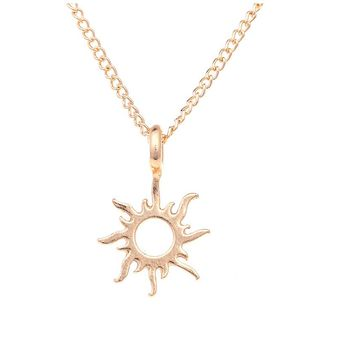 Gold Color Good Vibes Only Sun Pendant Necklaces  For Women
