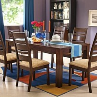 7 pc Everest walnut finish wood dining table set with fabric upholstered seats and slatted back chairs