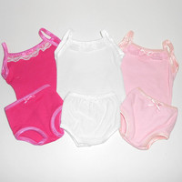 18 inch Doll Clothes Lot 3 Camisole and Panties Sets Pink/White and Hot Pink fits American Girl Doll