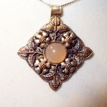 Pink Opal Pendant Necklace in Handmade Pure Fine Silver Setting