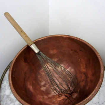 Large Antique French Copper Mixing Bowl And Large Whisk