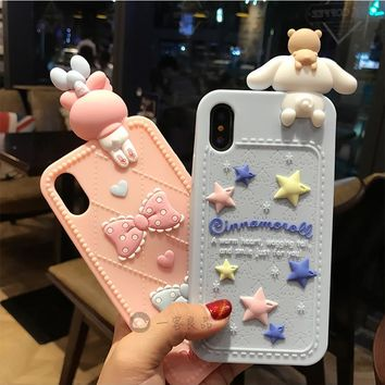 Fashion For iPhone X / 8 / 7 / 7Plus full case 3D hello kitty Melody Cases For iphone 8 plus 6splus Bear Soft back cover