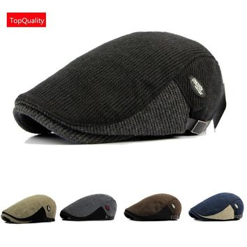 Adult Women Men Winter Autumn Newsboy Hat Knitetd Surface Outdoor Flat Cabbie Gatsby Ivy Cap (6Colors Choose)