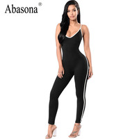 Abasona Sleeveless backless sexy bodycon jumpsuit Summer black white stripe overalls V neck straps womens rompers sportsuit
