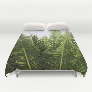 Palms of Belleair - Duvet Cover, Green Palm Tree Fronds, Beach Surf Bohemian Chic Bed Blanket Throw. Available in Full, Queen & King Size