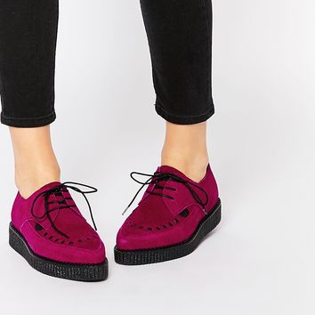 Underground Barfly Deep Red Suede Creeper Shoes at asos.com