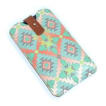 Leather iPhone 5 / new iTouch Case - Aztec in Mint and Coral red