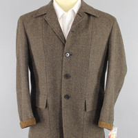 Vintage 1970s Blazer Jacket / 70s Sport Coat / Dark Brown Tweed Jacket / Alan LeBow Hartz