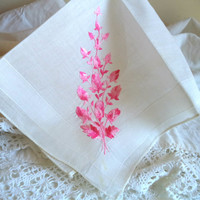 1950's White Embroidery Handkerchief Pink Floral Vintage Flower Bouquet Women's Hankie Accessory Wedding Bridal Sewing Dollhouse Curtains