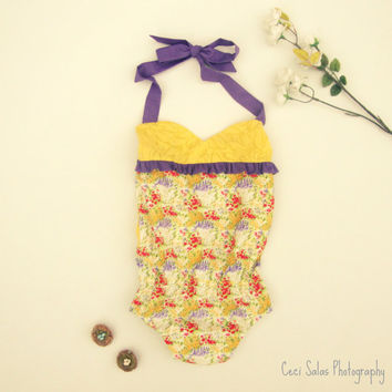 Flapper Romper/playsuit in Lavender Fields, available in size 2T, also made to order for newborn-2T by One Last Stitch