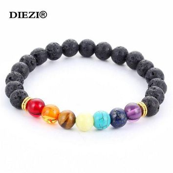 ONETOW new 2016 design mens bracelets black lava 7 chakra healing balance beads bracelet for men women rhinestone reiki prayer stones  9