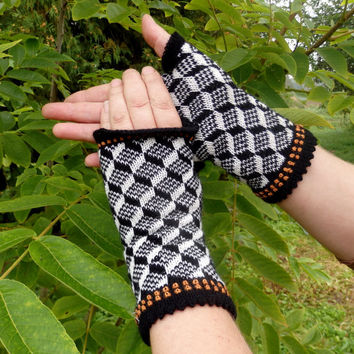 Knit fingerless gloves, knitted patterned arm warmers, white black winter gloves, colorful mittens, handmade accessories knitting wool mitts
