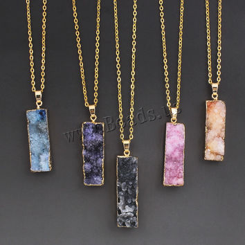 Women's Colorful Natural Stone Necklace Amethyst Pink Quartz Druzy Crystal Necklace Pendants Statement Necklaces Summer