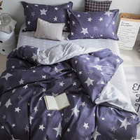 2.2m 4Pcs Star Print Duvet Cover Set -SheIn(Sheinside)