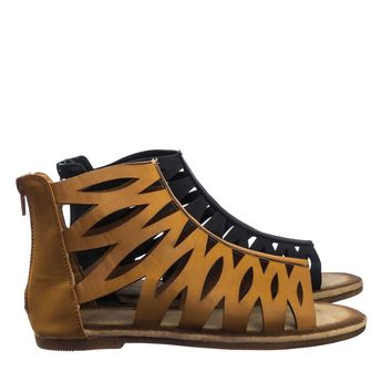 Maintain51 Vintage Stained Ankle High Gladiator Cutout Cage Flat Sandal