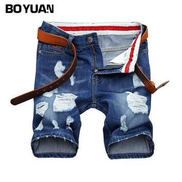 BOYUAN Jeans Men Short Pants Shorts Men Knee Length Men's Ripped Casual Biker Jeans Destroy Mens Shorts 2017 Summer New X681
