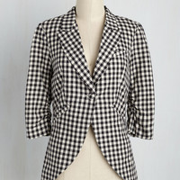 Fine and Sandy Blazer in Black Gingham | Mod Retro Vintage Jackets | ModCloth.com