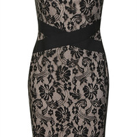 Strapless Floral Lace Fitted Dress with Zip Up Back